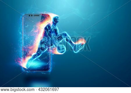 The Fiery Image Of A Basketball Player Cuts Out Of His Smartphone. Creative Collage, Sports App. Con