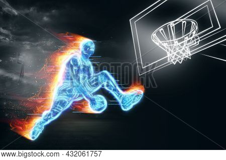 Neon Image Of A Professional Basketball Player Jumping With A Ball. Creative Collage, Sports Flyer.