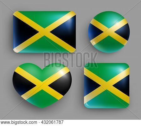 Set Of Glossy Buttons With Jamaica Country Flag. American Island State National Flag, Shiny Geometri