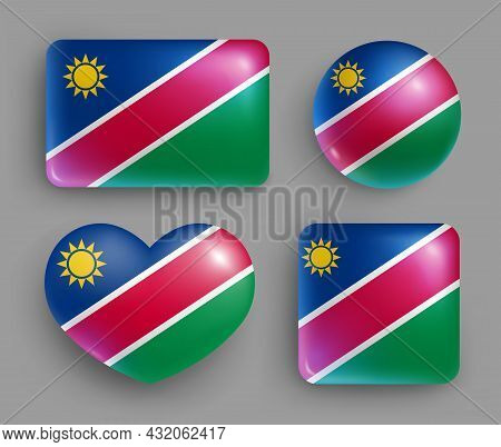 Set Of Glossy Buttons With Namibia Country Flag. Southern Africa Country National Flag, Shiny Geomet