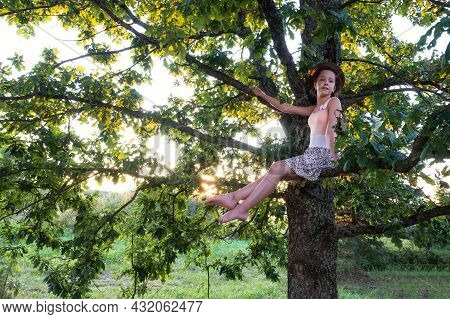 Beautiful Young Girl In Summer Dress And Hat Is Sitting On Tree, On Branch Of  Large Oak Tree In Sun