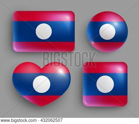 Set Of Glossy Buttons With Laos Country Flag. South East Asia Country National Flag, Shiny Geometric