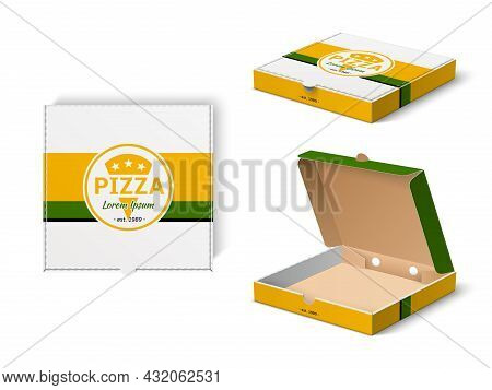 Pizza Box Design. Realistic Fast Food Mockup, Cardboard Branded Packaging With Pizzeria Logo, Restau