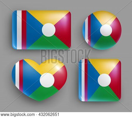 Set Of Glossy Buttons With Reunion Country Flag. African Island State National Flag, Shiny Geometric