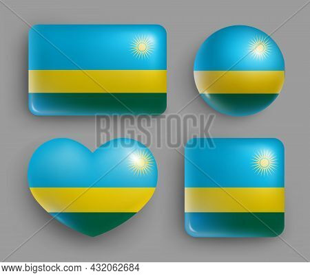 Set Of Glossy Buttons With Rwanda Country Flag. Western Africa Republic National Flag, Shiny Geometr