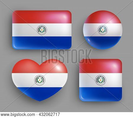 Set Of Glossy Buttons With Paraguay Country Flag. Central America Country National Flag, Shiny Geome