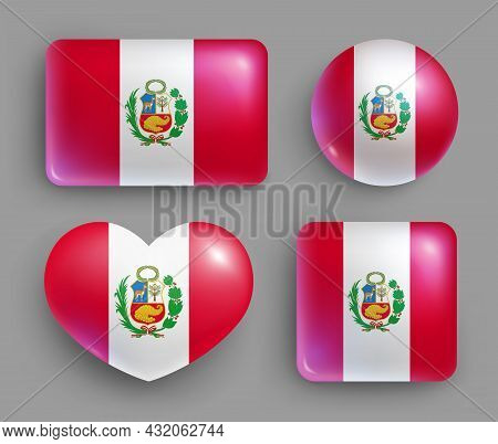 Set Of Glossy Buttons With Peru Country Flag. South America Country National Flag, Shiny Geometric S