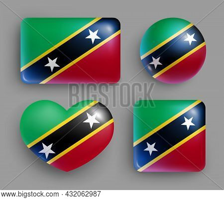 Saint Kitts And Nevis Country Flag Glossy Button Set. American Island State National Flag, Shiny Geo