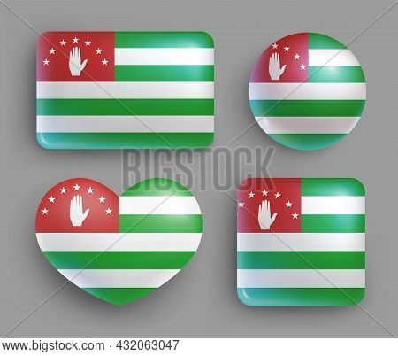 Set Of Glossy Buttons With Abkhazia Country Flag. Transcaucasia Country National Flag, Shiny Geometr