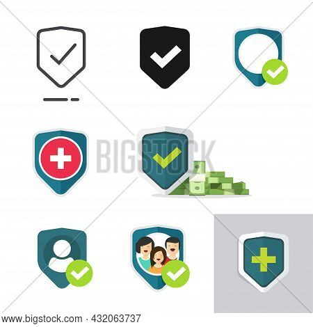 Protection Shield Icons Set Of Family Or Financial Insurance, Medical Health Care Guard Symbol Vecto