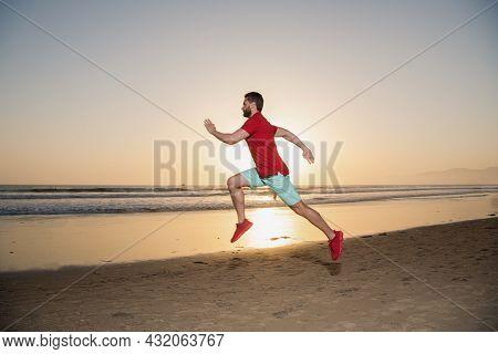 Runner Feel Freedom. Hurry Up. Endurance And Stamina. Sprinter. Sport Athlete Run Fast