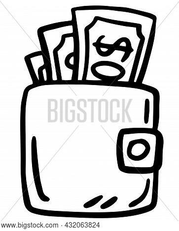 Doodle Purse Icon In Vector. Hand Drawn Wallet Icon. Isolated Doodle Purse Illustration In Vector