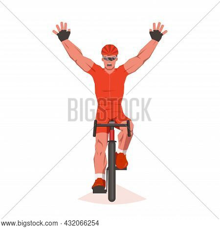 Cyclist At The Finish Line. Final Sprint Front View. Athlete On Bike Is Finishing The Race And As A