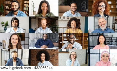 Crowded Video Screen With Diverse Multinational People On It. Video Meeting Online For Office Employ