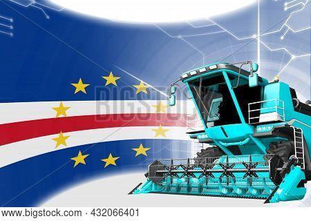 Digital Industrial 3d Illustration Of Blue Advanced Farm Combine Harvester On Cabo Verde Flag - Agri