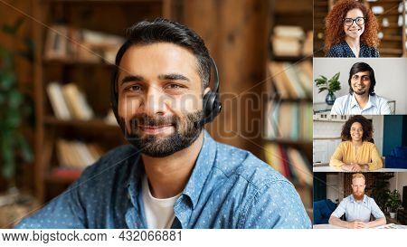 Headshot Portrait Screen View Of Smiling Young Indian Man Wearing Headshot Talk On Video Call With W