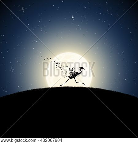 Flamingo On Moonlight Night. Endangered Animal. Death And Afterlife