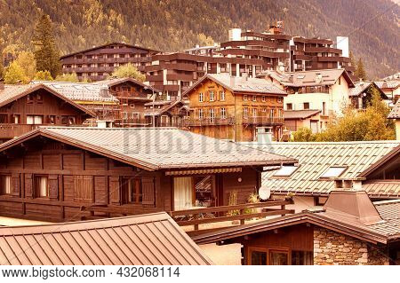 Chamonix Mont-blanc, France Autumn High Angle View, Chalets And Roofs Of Famous Ski Resort In French