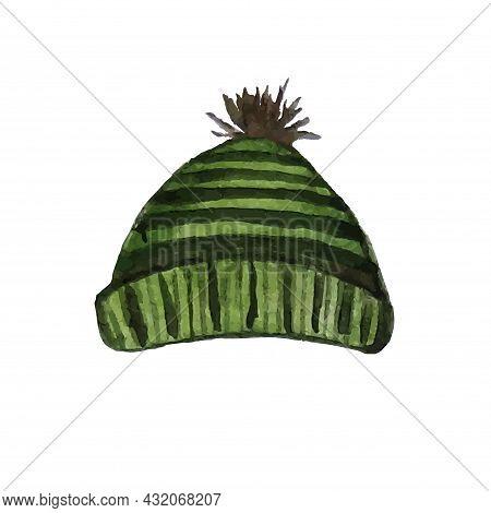 Knit Cap Green Watercolour Winter Acsesuar Art Season Specific Stock Vector Illustration For Web, Fo