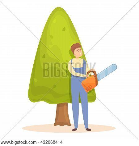 Tree Trimming Icon Cartoon Vector. Garden Hedge. Man Maintenance