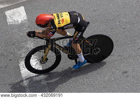 Santiago De Compostela, Spain; September 05, 2021: Primoz Roglic Training The Last Stage, Individual