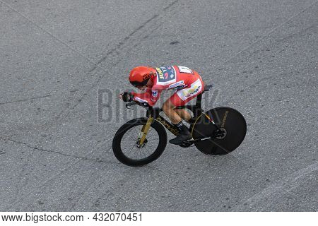 Santiago De Compostela, Spain; September 05, 2021: Primoz Roglic Pedaling The Last Stage As A Leader