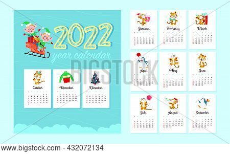 2022 New Year Creative Monthly Calendar For Kids With Cute Funny Tigers Animals, Penguins, Elf Chara