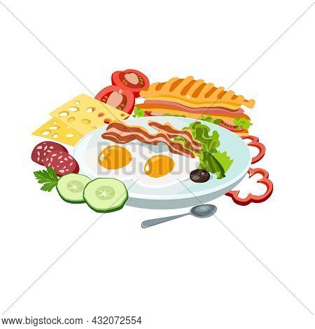 Sample Breakfast Farm Fresh Plate With Fried Eggs And Bacon, Cheese, Sausage And Vegetables, Sandwic