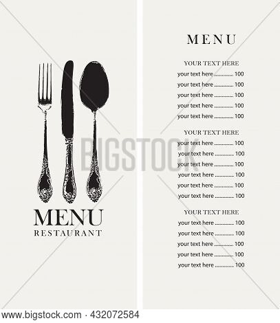 Vector Template Of A Restaurant Menu With A Price List And A Cover Decorated With An Antique Beautif