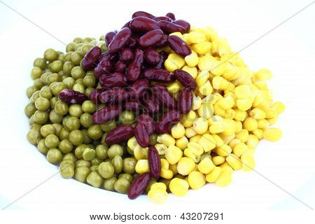 Pease, red bean and corn