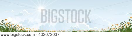 Blue Sky With Fluffy Clouds And Daizy Fields In Sunny Day Summer.holizon Spring Rural Landscap With
