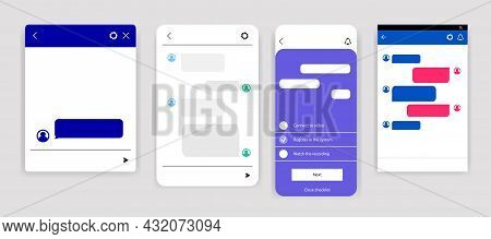 Set Of Online Chatbot Text Messaging App Isolated On White Background. Windows For Website. Social C