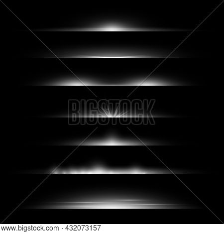 Line Flare. Light Dividers Glowing Borders, White Horizontal Beams. Futuristic Transparent Rays. Mag