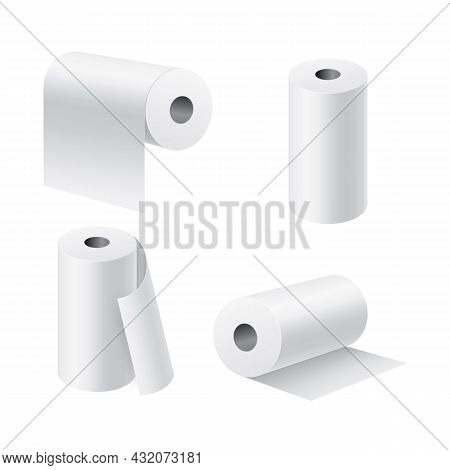 Paper Rolls Realistic. 3d White Kitchen Towel Or Toilet Tissue On Cardboard Cylinder, Hygiene Produc