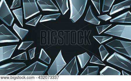 Broken Glass Frame. Realistic Smashed Window, Shards With Cracks Random Shapes, Damage And Destructi