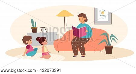 Parents Read Book Kids. Mother Reads Fairy Tale Son And Daughter, Happy Family Evening, Mom And Chil