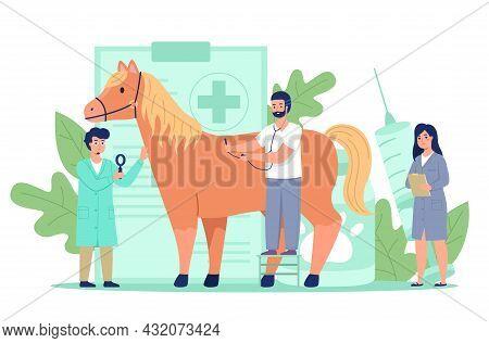 Tiny Vet Doctors. Miniature Veterinarians Treat Big Horse, Preventive Domestic Animal Examine And Tr