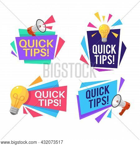 Quick Shortcuts. Useful Tips And Recommendations With Megaphone And Light Bulb Symbols And Text, Rem
