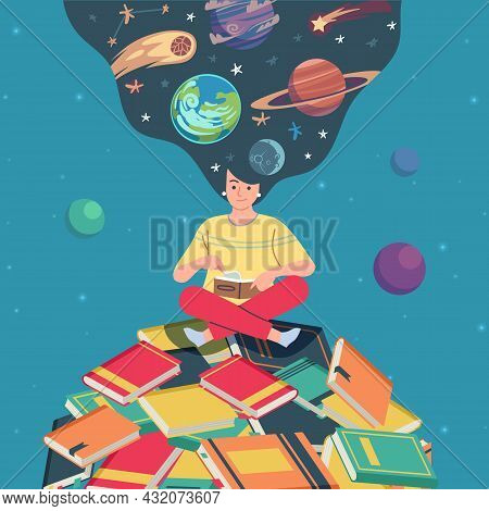 Meditation In Reading Over The Planet Of Books. Young Man Sitting In Lotus Position And Reading, Cos