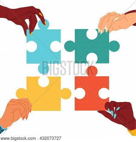 Puzzle, General Opinion. Multiethnic People Hands Hold Pieces, Joint Development Common Idea, Busine