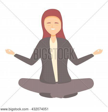 Zen Study Icon Cartoon Vector. Work Stress. Computer Think