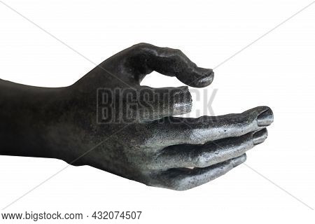 Front View Closeup Of Black Marble Statue Hand With Broken Index Finger Reaching Out Isolated On Whi