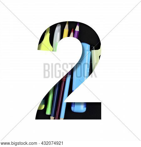 School Or Office Supplies Font. Digit Two, 2 Cut Out Of Paper On A Background Of A Set Of Stationery