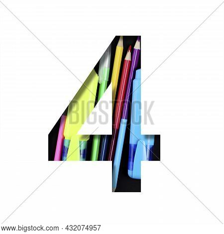 School Or Office Supplies Font. Digit Four, 4 Cut Out Of Paper On A Background Of A Set Of Stationer