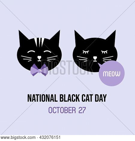 National Black Cat Day Greeting Card, Vector Illustration With Cute Cartoon Style Couple Of Black Ca