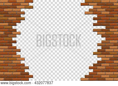 Broken Brick Wall On Transparent Background. Hole In Red Brick Wall. Vector Illustration