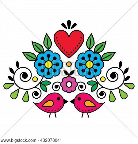 Swedish Folk Art Vector Cute Pattern With Birds, Heart, And Flowers Inspired By The Traditional Scan