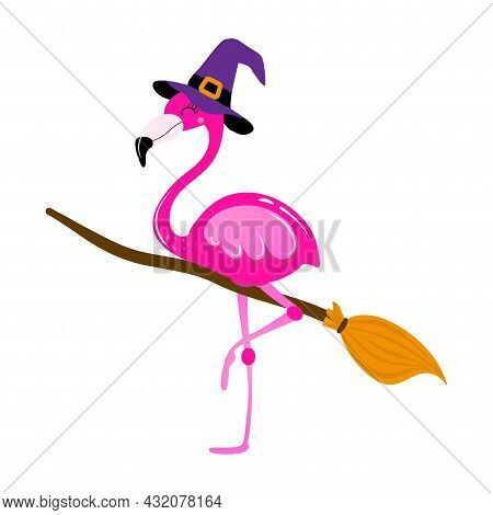 Happy Halloween - With Flamingo Witch With Broomstick - Funny Vector Label. Lettering Poster Or T-sh