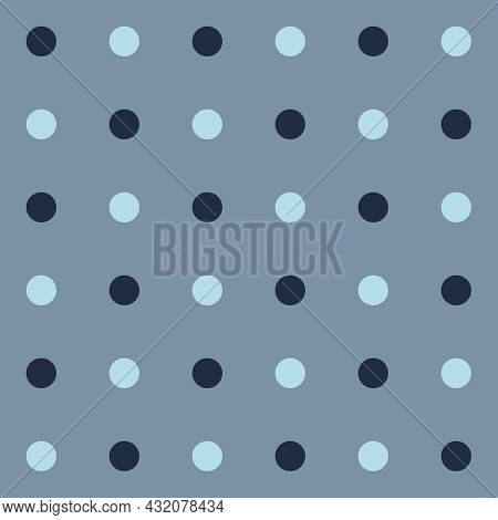 Polka Dot Pattern. Spun Sugar And Pageant Blue Color Dot On Mountain Spring Gray  Background. Seamle