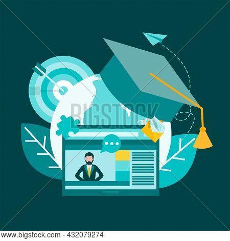 Education, Learning, Tutoring, Social Media Online Communication. The Teacher On The Monitor Screen